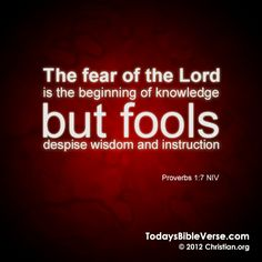 The fear of the Lord is the beginning of knowledge but fools despise wisdom and instruction. - Proverbs 1:7    From TodaysBibleVerse.com