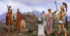 illustration of adam hook showing a macedonian greek warrior from the army of alexander the great Ancient Sparta, Ancient Rome, Ancient Greece, Ancient History, Greek History, Greco Persian Wars, Spartan Warrior, Greek Warrior, Classical Antiquity