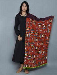 Navy Orange Cotton Cambric Dupatta