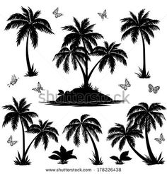 Tropical set: sea island with plants, palm trees, flowers and butterflies, black silhouettes isolated on white background. Vector - stock vector