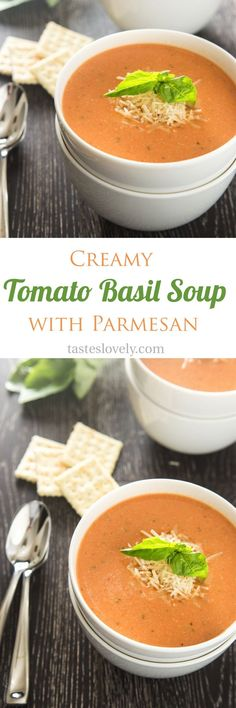 Creamy tomato basil soup with parmesan cheese – the BEST tomato soup I've ev… Cremige Tomaten-Basilikum-Suppe mit Parmesan – die BESTE Tomatensuppe, die ich je hatte! New Recipes, Soup Recipes, Dinner Recipes, Cooking Recipes, Favorite Recipes, Healthy Recipes, Best Tomato Soup, Creamy Tomato Basil Soup, Tomato Bisque Soup