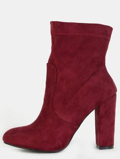 Online shopping for Faux Suede Chunky Heel Ankle Booties BORDEAUX from a great selection of women's fashion clothing & more at MakeMeChic.COM.