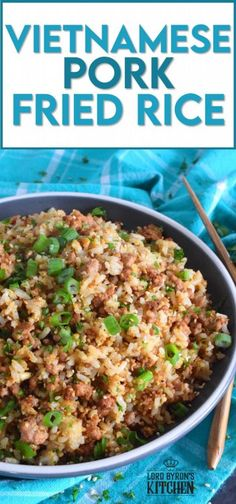 Leftover rice and ground pork are the main ingredients in Vietnamese Pork Fried Rice. Prepared with eggs, garlic, ginger, and green onions, and seasoned with fish sauce, this rice is a complete meal all on its own! #friedrice #pork #vietnameserecipes #porkfriedrice #skillet Cookbook Recipes, Rice Recipes, Side Dish Recipes, Pork Recipes, Indian Food Recipes, Asian Recipes, Ethnic Recipes, Oriental Recipes, Chinese Recipes