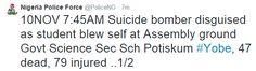 NPF: 47 students confirmed dead from today's blast...