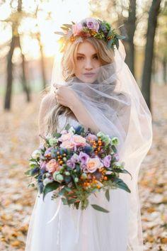 wianek ślubny z welonem