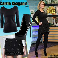 Top: H Figure-fit Jersey Top  Skirt: Zara Fantasy Mini With Diamante   Shoes: Bebe Solange Patent Leather Ankle Boot