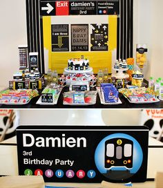 Bold NYC Subway Map Themed Birthday Party @Andrea Measom  Can we PLEASE have this party?