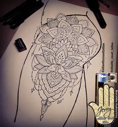 Beautiful tattoo idea design for a thigh. Mandala lotus lace tattoo design with pretty patterns by dzeraldas jerry kudrevicius from Atlantic Coast tattoo. Thigh tattoo. Pretty tattoo. Ornamental mandala style design with pretty patterns.