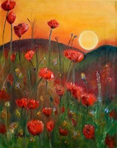 Poppies In The Sun by Heidi Mansion Oil ~ 20 x 16