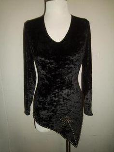 "Beautiful, Slinky, Black Stretch Velvet Vintage ""Night Out"" Dress/Shirt with Studs"