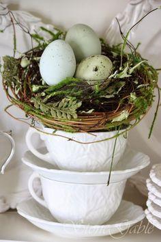 bird nest in white tea cups! bird nest in white tea cups! 10 Pinned from… Hoppy Easter, Easter Eggs, White Tea Cups, White Dishes, White Pitchers, Easter Celebration, Beltane, Easter Table, Decoration Table