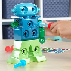 New for 2017! The Design & Drill® Robot is the perfect introduction to STEM learning through basic engineering and construction play. Snap, drill, and decorate your rockin' robot pal with kid-friendly tools that little builders can easily compute! Ages 3+.