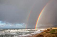 Inverness Double Rainbow taken from Inverness Beach Village. Inverness Nova Scotia, Beach Village, Places In Scotland, Cape Breton, Niagara Falls, Beaches, Trail, Rainbow, Island