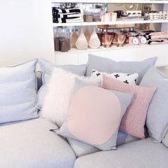 Muted colour palettes can introduce an element of serenity into your space - we are loving this blush pink and grey combo on our Kingston lounge  #thefurnituregallery #getitatthegallery