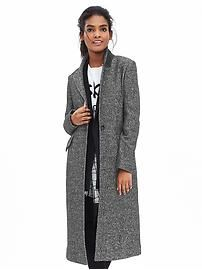 Tweed One-Button Coat