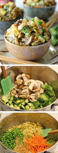 """Quinoa is a wonderful substitute in this protein-packed veggie """"fried rice""""!"""