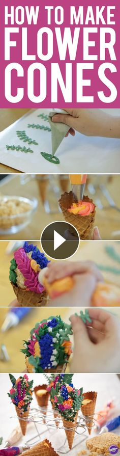 Forget the traditional cupcake, learn how to make these lovely Flower Cones that will certainly impress. Made using icing and Candy Melts candy, these sweet flower treats are an amazing way to show someone how much you care. These treats are perfect for Mother's Day, a wedding shower, or just an elegant spring brunch.