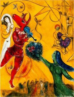 marc-chagall, the-dance-1951. I have always been drawn to the simple primary colors and bold lines. Chagall's work is lyrical.