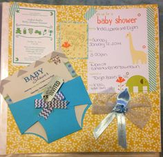 One of the many pages I've completed scrapbooking -The Baby shower Invitation Page - He had one in Pittsburgh - where he is from, one in North Carolina where mommy is from & one in Lancaster,PA where Daddy is from :) spoiled boy