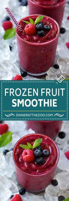 Ideas Recipes Healthy Smoothie Fruit For 2019 Frozen Fruit Smoothie, Healthy Fruit Smoothies, Fruit Drinks, Breakfast Smoothies, Smoothie Drinks, Healthy Fruits, Healthy Drinks, Breakfast Fruit, Fruit Snacks