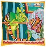 PWG81 Gutta Cushion Silk Cover Habotai-10 40x40 cm - Léon
