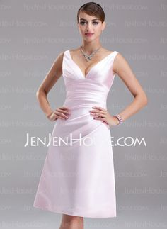 Bridesmaid Dresses - $89.99 - Empire V-neck Knee-Length Satin Bridesmaid Dress With Ruffle (007001054) http://jenjenhouse.com/Empire-V-Neck-Knee-Length-Satin-Bridesmaid-Dress-With-Ruffle-007001054-g1054