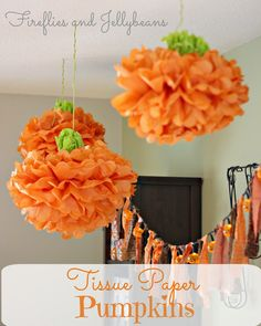 Fireflies and Jellybeans: Tissue Paper Pumpkins {Tutorial}