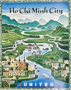 DP Vintage Posters - Original United Airlines Travel Poster Ho Chi Min City [[Vietnam]] (I need this one! Travel Ads, Airline Travel, Asia Travel, Vietnam Voyage, Vietnam Travel, Le Vietnam, Saigon Vietnam, Retro Poster, Poster Ads