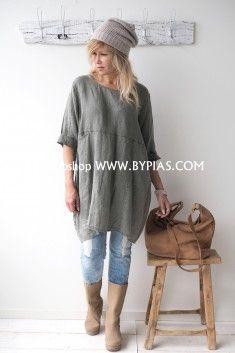 BOHEMIANA HAPPY Linen Tunic, GREEN
