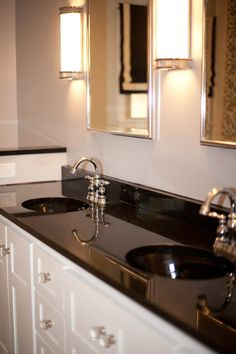 Classic Black And White Bathroom. Restoration Hardware Mirrors And Sconces.  Custom Design Vanity.