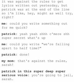 I lost it on Patrick's super deep voice *ohmygosh* Emo Bands, Music Bands, Soul Punk, Patrick Stump, Band Memes, Paramore, Fall Out Boy, Falling Down, My Chemical Romance