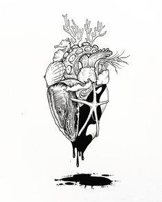 """158 curtidas, 8 comentários - Brandon Hayman (@brandonhayman) no Instagram: """"""""Ocean-Heart Series No.II"""" #art #artist #artistsoninstagram #instaart #instagood #penandink #ink…"""""""