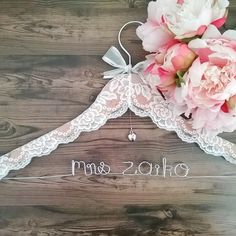 Personalised Name hangers Australia, Lace Wedding gown Hanger, Vintage Wedding dress hanger, Country Wedding Coat Hangers, Personalised Bridal Hangers Wedding Coat Hangers, Bridal Hangers, Diy Clothes Hangers, Diy Crafts For Home Decor, Personalized Wedding, Lace Wedding, Wedding Vintage, Marie, Wedding Country