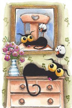 Original watercolor painting whimsical Stressie cat bird crow flower green room #IllustrationArt