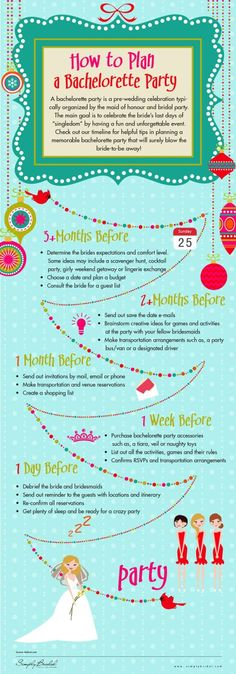 Bridal Party Fun - Plan the perfect Bachelorette party with this helpful timeline of events.