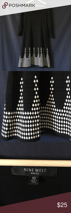 Nine West sweater dress. Sweater dress. Beautiful material. EUC, worn once. Black with white geometric pattern. Viscose/nylon mix (smooth material which does not pill!). 3/4 sleeves. Size XS (runs large, more like a loose small: I wore it belted). Nine West Dresses