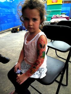 This gorgeous little nugget, chose her own airbrush tattoo sleeve to fashion at the Yarra Valley Tattoo Show.... she was an absolute pleasure to put so many pretties on her skin.