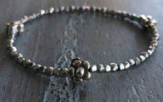 Hematite Bracelet Beaded Flower Bracelet Boho by indietiez on Etsy