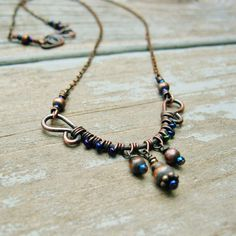 Wire Wrapped Necklace with Antiqued Copper and by BearRunOriginals, $26.00