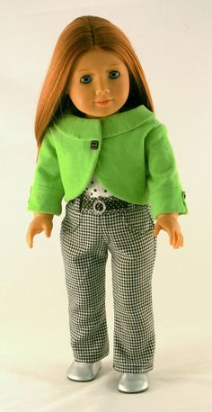 American Girl Doll Clothes Lined Green Jacket by Forever18Inches