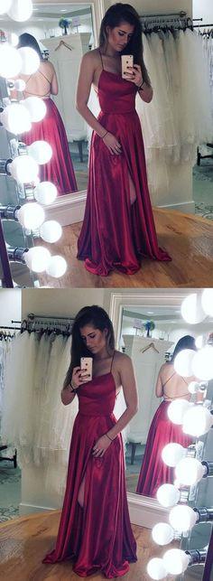 Stylish burgundy satin backless long prom dress, formal dress – trendty