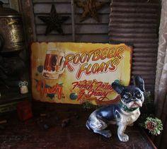Primitive Vtg Style Retro Americana ROOT BEER FLOATS Cafe Diner Shop Sign Tin #NaivePrimitive