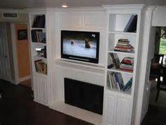 marvelous modern wall mounted fireplace - Flat Screen TV Over Fireplace Ideas. Inset Fireplace, Wall Mounted Fireplace, Tv Over Fireplace, Fireplace Redo, Fireplace Bookshelves, Fireplace Cover, Fireplace Built Ins, Bookshelves Built In, Fireplace Design