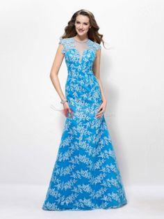 #Evening #Dresses #Gorgeous Gorgeous Appliques Jewel Neckline TrumpetDressMermaid Floor-Length Evening Dress