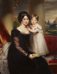 The Royal Collection: Victoria, Duchess of Kent with Princess Victoria, oil on canvas by Sir William Beechey 1821