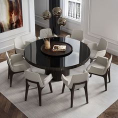 Enjoy the warmth and solidity of wood or the cool and brightness of lacquer. The Berkeley dining table represents clean, incisive design. The recessed pedestal base sits firmly underneath a solid round top. Dining Room Furniture, Dining Room Table, Home Furniture, Furniture Design, Dining Area, Black Glass Dining Table, Modern Furniture, Dining Chairs, Console Tables