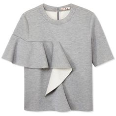 Gray bonded jersey short sleeve sweatshirt with a side-wrapped ruffle.?Crew neckline, Hidden back zip closure, Made in Italy,