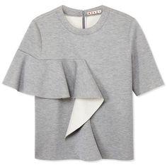 Marni Gray Ruffle Sweatshirt (38,235 MKD) ❤ liked on Polyvore featuring tops, hoodies, sweatshirts, grey, sweatshirt, sweatshirt hoodies, short sleeve crew neck sweatshirt, short sleeve sweat shirt, gray top y grey sweatshirt