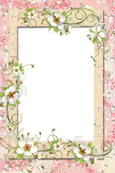 Transparent PNG Frame with Flowers.