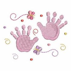 Sweet Heirloom Embroidery Design: Newborn Hands 2.13 inches H x 2.73 inches W